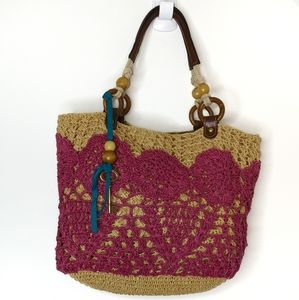 Fossil pink and tan straw purse